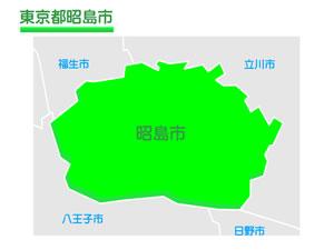 東京都昭島市のイラスト地図