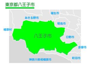 東京都八王子市のイラスト地図