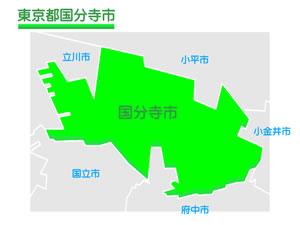 東京都国分寺市のイラスト地図
