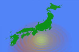 日本地図と波紋のイメージ図