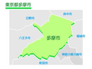 東京都多摩市のイラスト地図