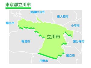 東京都立川市のイラスト地図