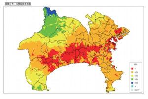 神奈川県庁資料「元禄型関東地震による震度分布」