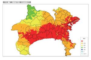 神奈川県庁資料「相模トラフ沿いの最大クラスの地震による震度分布」