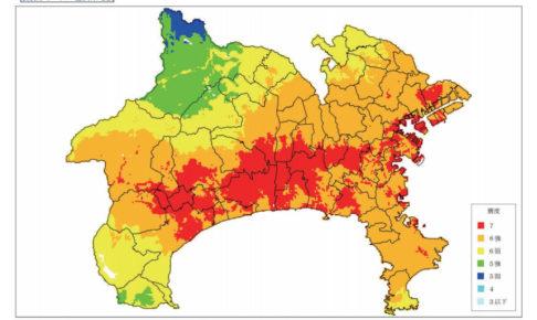 神奈川県庁資料「大正型関東地震による震度分布」