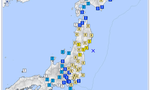昭和53年宮城県沖地震の震度分布図