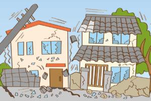 市街地で被災した家屋のイメージ