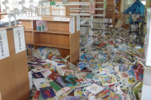 市民センター内図書館の被災状況