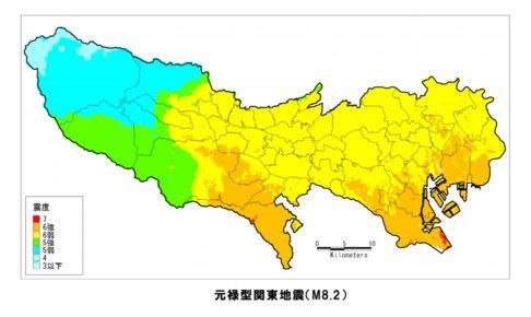 元禄型関東地震の震度分布図