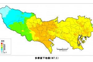 多摩直下地震の震度分布図