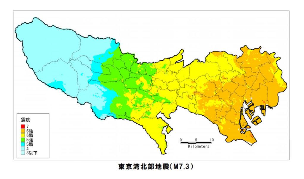 東京湾北部地震の震度分布図