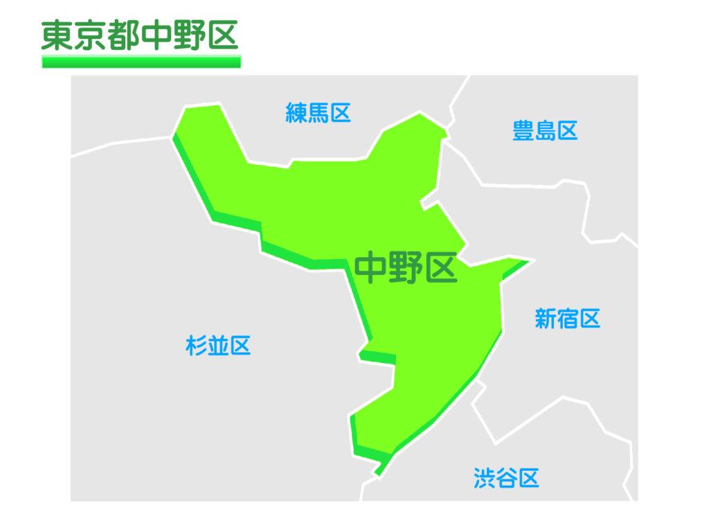 東京都中野区のイラスト地図
