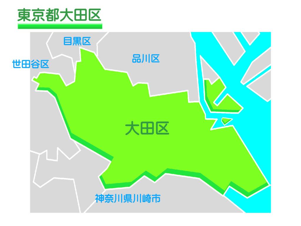 東京都大田区のイラスト地図