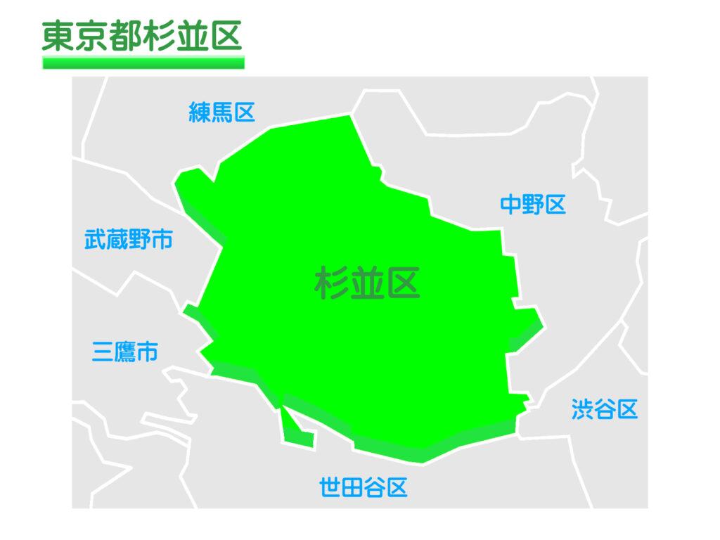 東京都杉並区のイラスト地図