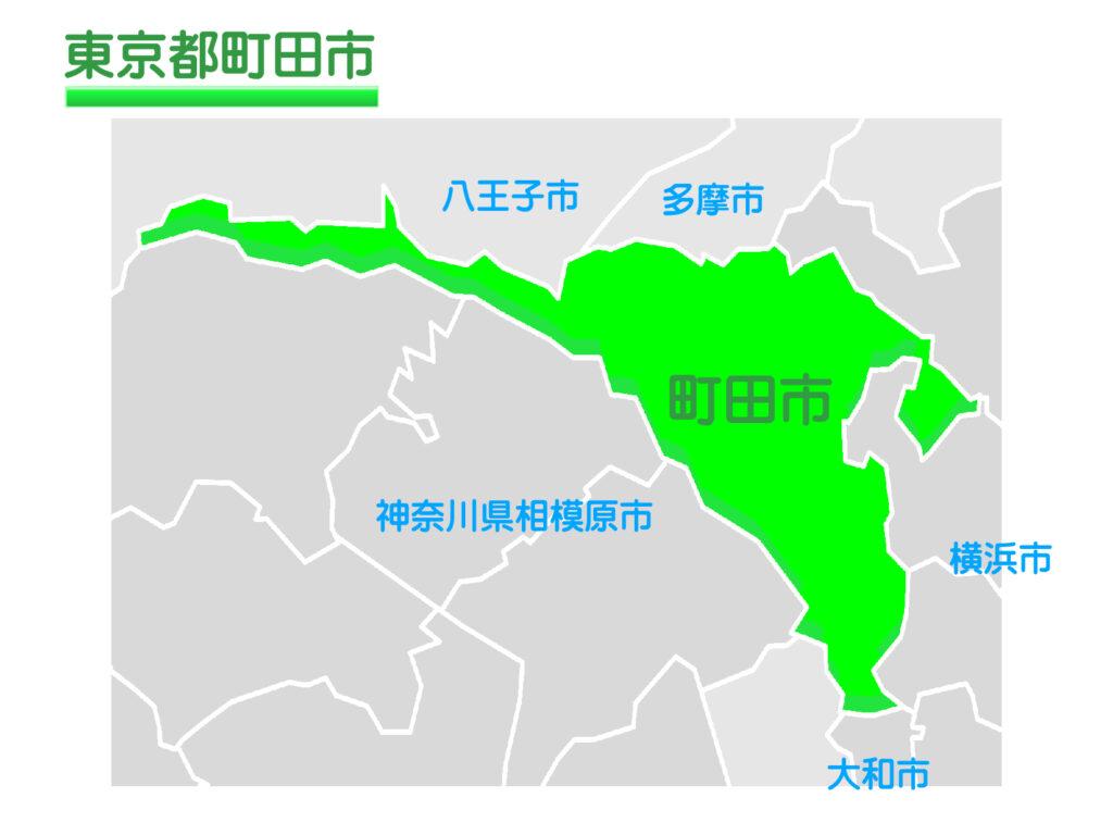 東京都町田市のイラスト地図