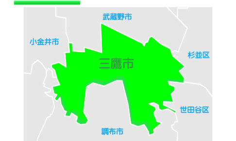 東京都三鷹市のイラスト地図
