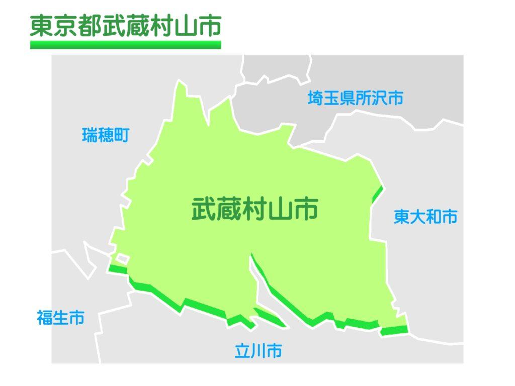 東京都武蔵村山市のイラスト地図