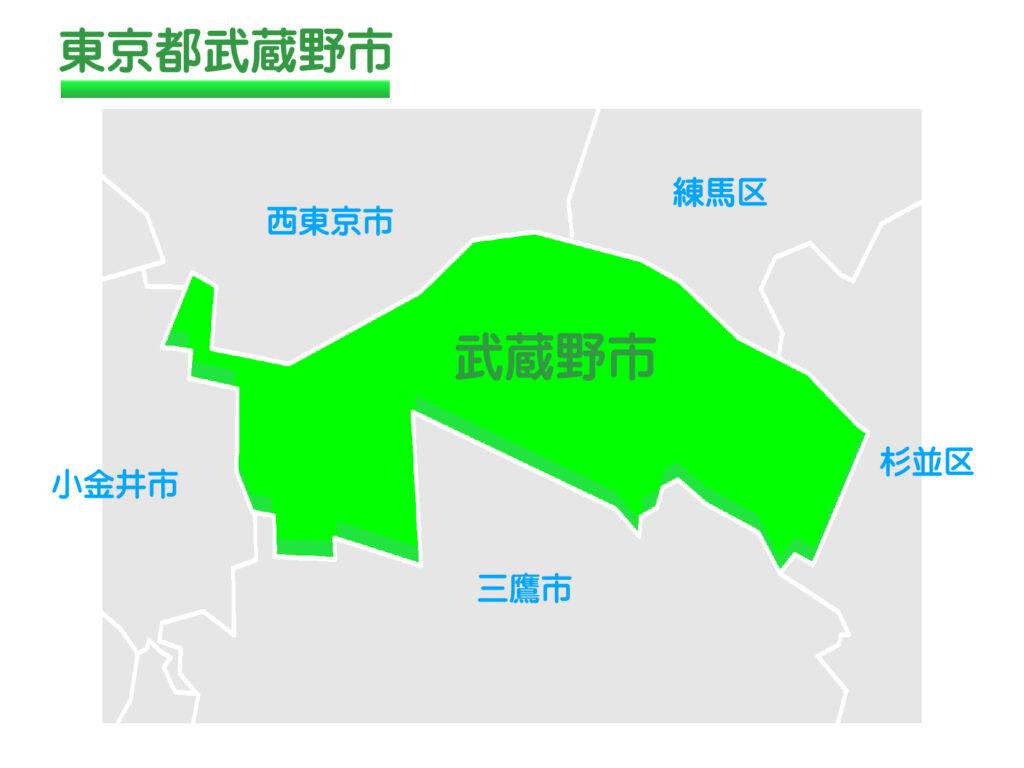 東京都武蔵野市のイラスト地図