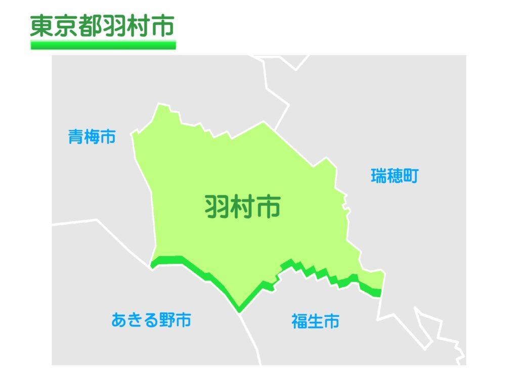東京都羽村市のイラスト地図