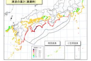 四国地方大被災ケースでの津波の高さ