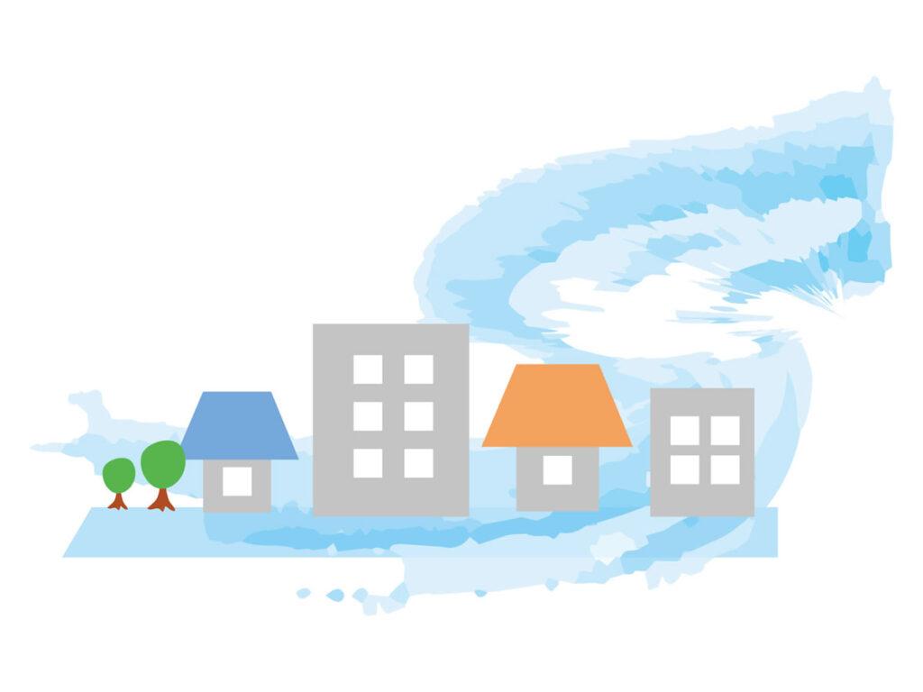 津波と市街地のイメージ